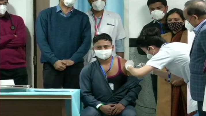 COVID 19 vaccination AIIMS Delhi Sanitation worker first person